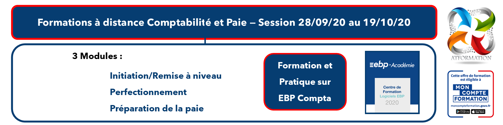 AT FORMATION - COMPTABILITE PAIE MON COMPTE FORMATION CPF SESSION SEPTEMBRE 2020 A DISTANCE