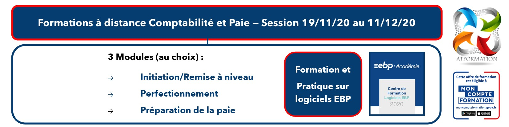 AT FORMATION - COMPTABILITE PAIE MON COMPTE FORMATION CPF SESSION NOVEMBRE 2020 A DISTANCE